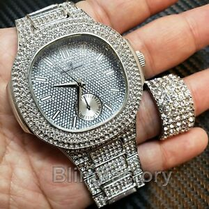 HIP-HOP-ICED-OUT-SILVER-PLATED-LAB-DIAMOND-WATCH-amp-FULL-ICED-RING-COMBO-GIFT-SET
