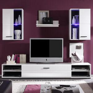 Details zu Wohnwand Schrankwand Anbauwand Final Lux Wohnzimmer weiß  Vitrinen LED