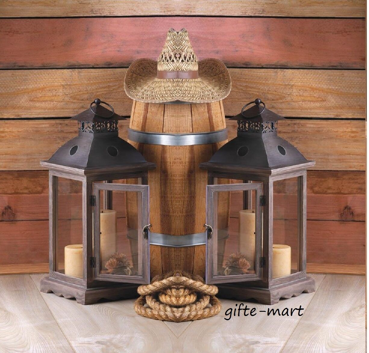 2 large brown wood metal 18  tall Candle holder Lantern terrace outdoor patio