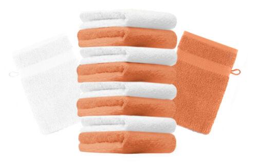 orange Betz 10 Waschhandschuhe Waschlappen Waschhandschuh PREMIUM 16x21cm weiß