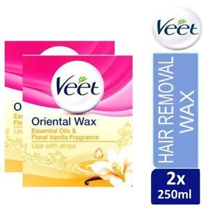 2 x Veet Essential Oils and Floral Vanilla Warm Wax Microwavable Jar 250 ml