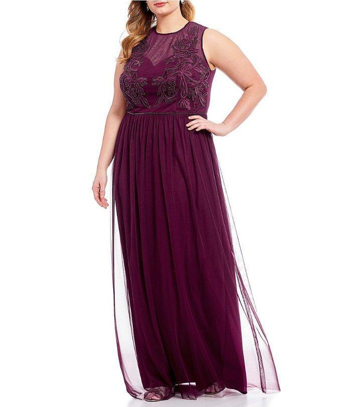 ADRIANNA PAPELL® Plus Size 20W Cabernet Illusion Beaded Bodice Gown NWT