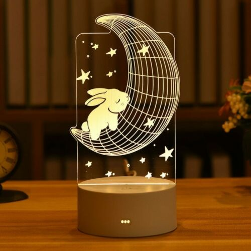Love Bear 3D Acrylic Night Light  Creative Bedroom Beside Lamp Desktop LED