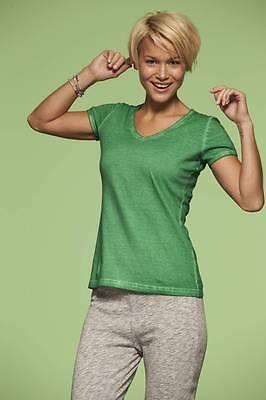 T-Shirt Damen James&Nicholson Kurzarm V-Ausschnitt 100% Baumwolle Tailliert