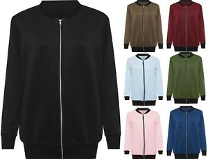 Womens-Plus-Plain-Bomber-Jacket-Ladies-Basic-Long-Sleeve-Zip-Up-Elasticated-Top