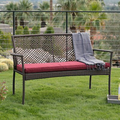 Stupendous Brown Resin Wicker Outdoor Garden Bench With Burgundy Red Cushion Patio Seating 784046717688 Ebay Lamtechconsult Wood Chair Design Ideas Lamtechconsultcom