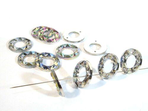 Facettierte Aufnähsteine Kristall AB Ring 15 Stück #P113