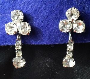 Vintage-30s-Glamour-Brilliant-Rhinestone-Clover-Drop-Dangle-Screw-Back-Earrings