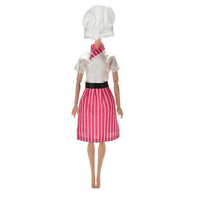 3 Pcs//lot Dress Apron Hat Chef Clothes Doll for s Dolls JBCAPLCA