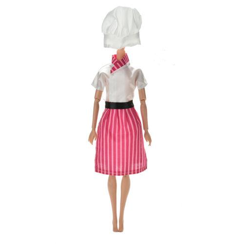 3 Pcs//lot Dress Apron Hat Chef Clothes Doll for s Dolls HK