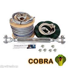 COBRA 60m GARDEN ZIP WIRE PACKAGE / ZIP LINE KIT 8mm WIRE ROPE + BUTTON SEAT