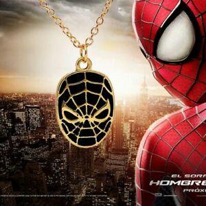 Spiderman-Maske-Marvel-Avengers-Lang-Kette-Anhaenger-Halskette-Schmuck-Geschenk