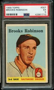 1958-Topps-BB-Card-307-Brooks-Robinson-Baltimore-Orioles-PSA-EX-5