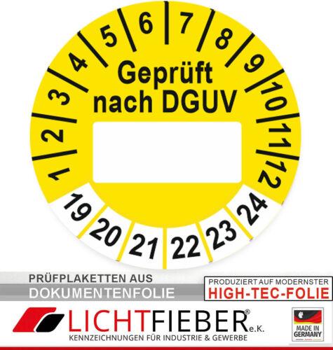 gelb orange violett Geprüft nach DGUV Prüfplaketten Ø 30mm Dokumentenfolie