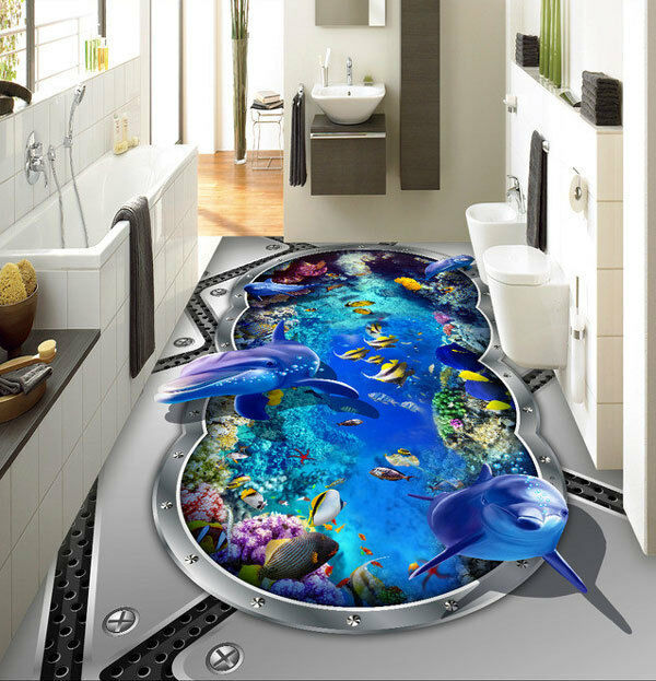 3D Submarine Window Dolphin Fish Floor Mural Photo Flooring Wallpaper Wall Decal