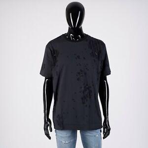 DIOR-HOMME-690-Black-Tshirt-With-Cut-amp-Sew-Shinethrough-Oblique-Logo