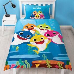 Bebe-Requin-Famille-Simple-Couette-Taie-D-039-Oreiller-Set-Bleu-Enfants-Coucher