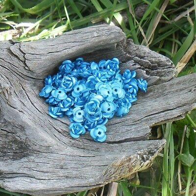 Fuschia 90 perles fleurs roses métal aluminium 6 mm