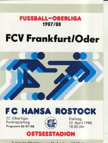 OL 87//88  FC Hansa Rostock FC Vorwärts Frankfurt//O.