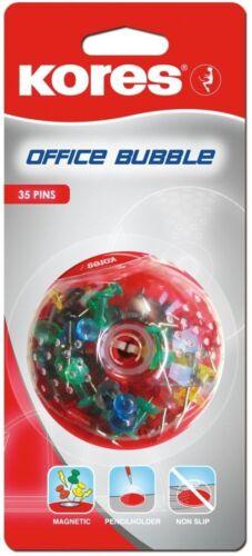Spender für Pinnadeln und Reißzwecken mit 35 Pinwandnadeln gefüllt Kores Bubble