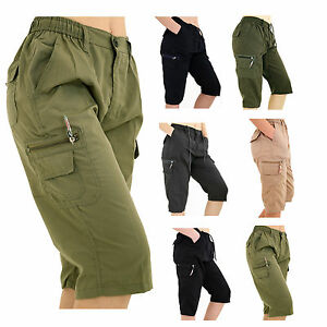 MENS-PLAIN-ELASTICATED-SHORTS-COTTON-CARGO-COMBAT-SUMMER-HOLIDAY-CASUAL-PANT-NEW