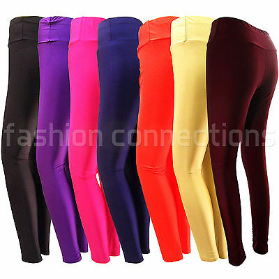 New Girls Ladies Shiny High Waist Stretch Disco Leggings Pants Gym Retro Size Nachfrage üBer Dem Angebot