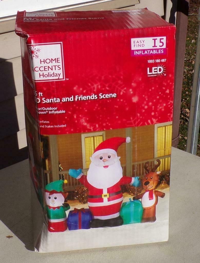 Nib Home Accents Led Santa And Friends Scene 6 5 Inflatable Christmas Yard Decor For Sale Online