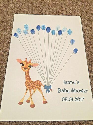 Personalised Baby Shower print Fingerprint Keepsake With Ink pad Giraffe