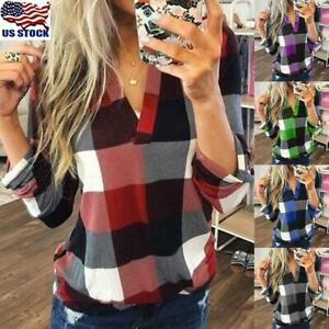 Plaid t shirts for Women Top Long Sleeve Blouse XL Casual T-shirts V-Neck 5XL