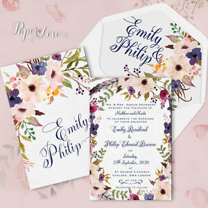Image Is Loading Boho Fl Personalised Wedding Invitations Rustic Cards