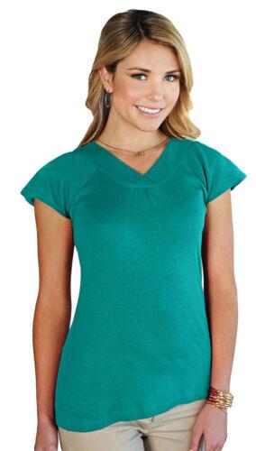 LB127 Tri-Mountain Women/'s Stylish V-Neck Short Sleeve Slim Fit Casual T-Shirt