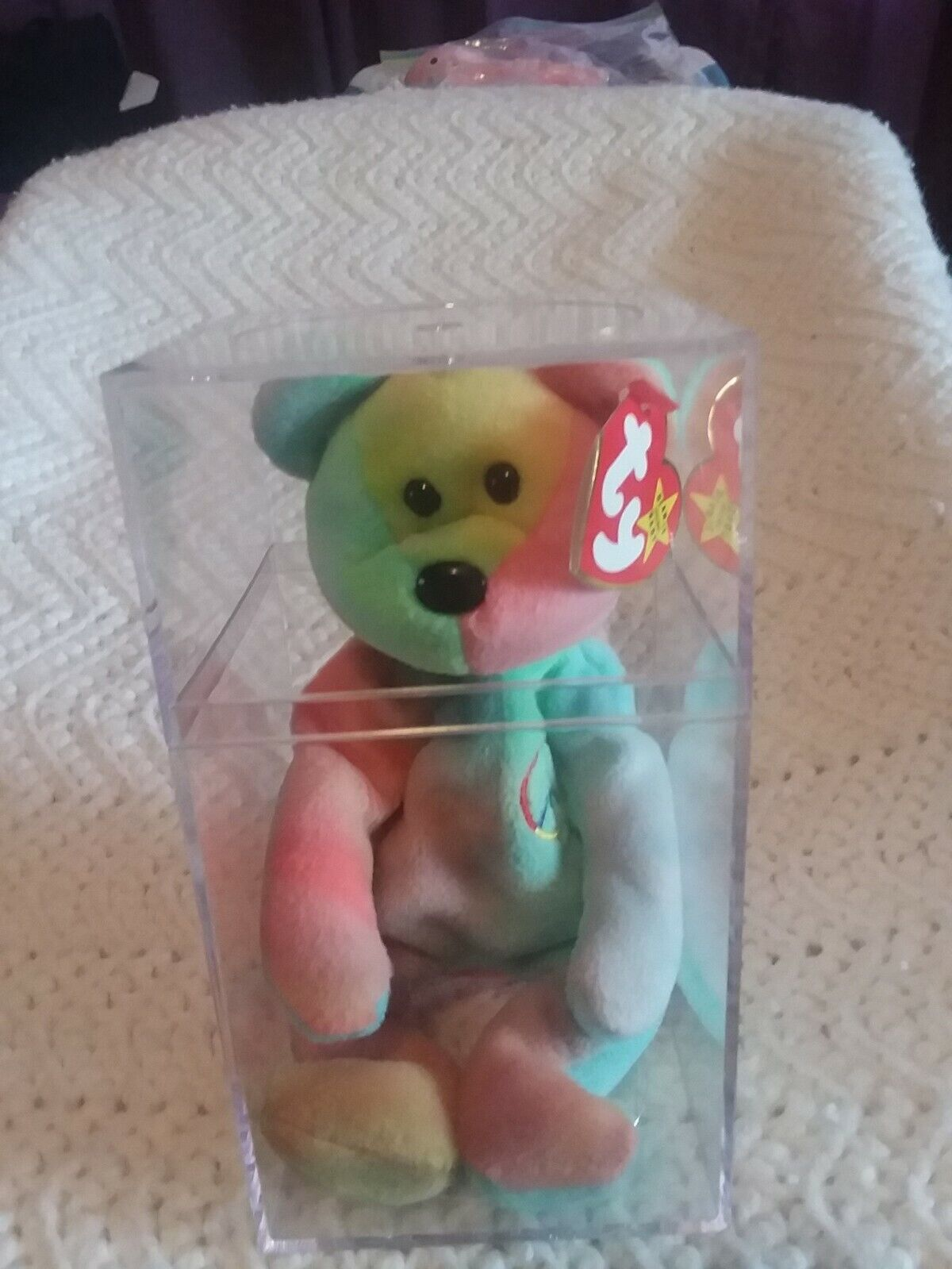 Ty Beanie Baby  Peace  Bear 1996 First Edition with PVC pellets Mint condition