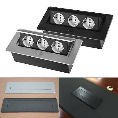 Tischsteckdose Küchensteckdose Aluminium Energiestation Steckdose versenkbar 3er