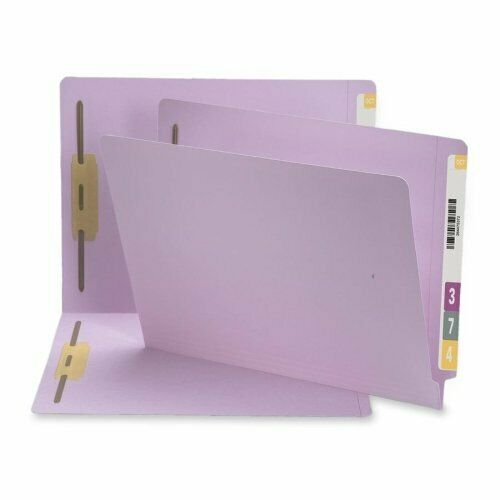 Smead 25540 Lavender End Tab colord Fastener File Folders With Reinforced Tab -