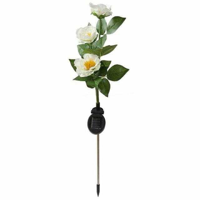 Solar Camellia Flower Lights, Solar Powered Garden Outdoor Decorative Lands D3V5