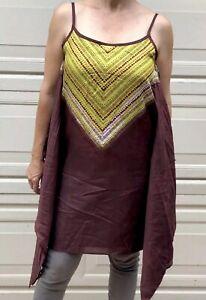 NWT Da Nang Women's Spaghetti Strap Dress w/ Sides Printed Green/ Brown