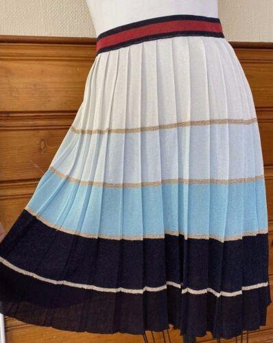 GUCCI pleated Skirt Metallic silk blend gold blue