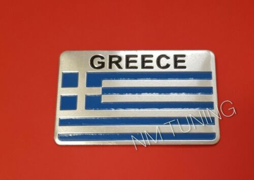 Griechenland Fahne Flagge Aufkleber Logo Alu 3D Logo Greece Hellas Ellas Emblem