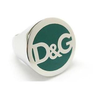 9dfd4a761eee NEW DOLCE   GABBANA D G DJ0061 SILVER GREEN FASHION BRAND NAME RING ...