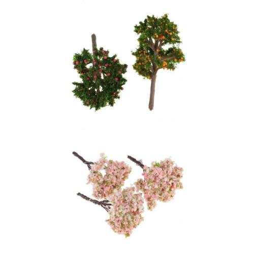 Pack of 5 Fruit Tree Model Micro Scenes Dollhouse Accessory for 1:12 Scale