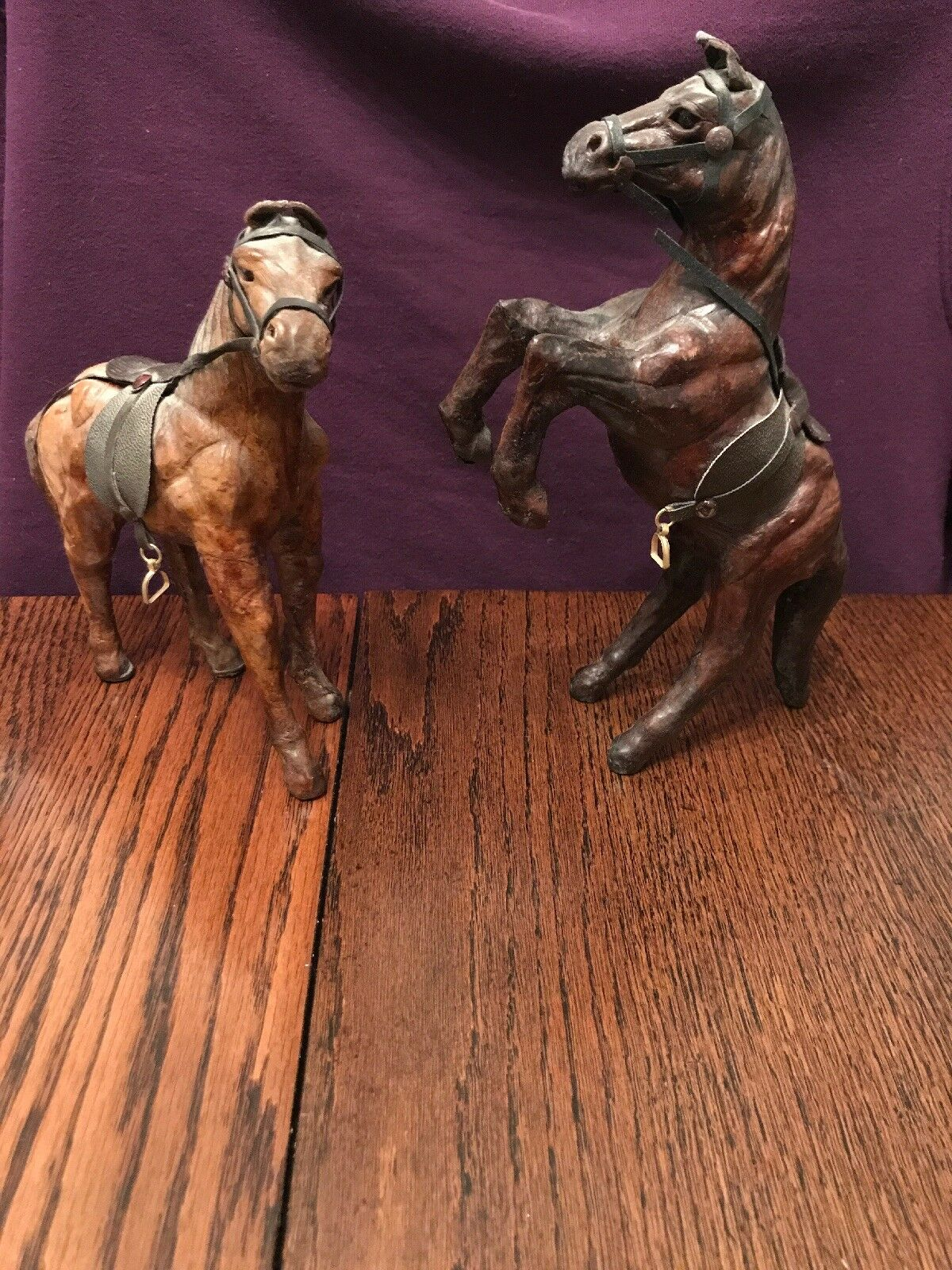 Antique Leather & Paper-Mache Horse Decorative Horses Lot Great Condition WOW