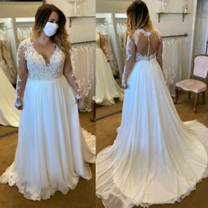 Plus-Size-Chiffon-Wedding-Dresses-Long-Sleeve-A-line-V-Neck-Beach-Bridal-Gown