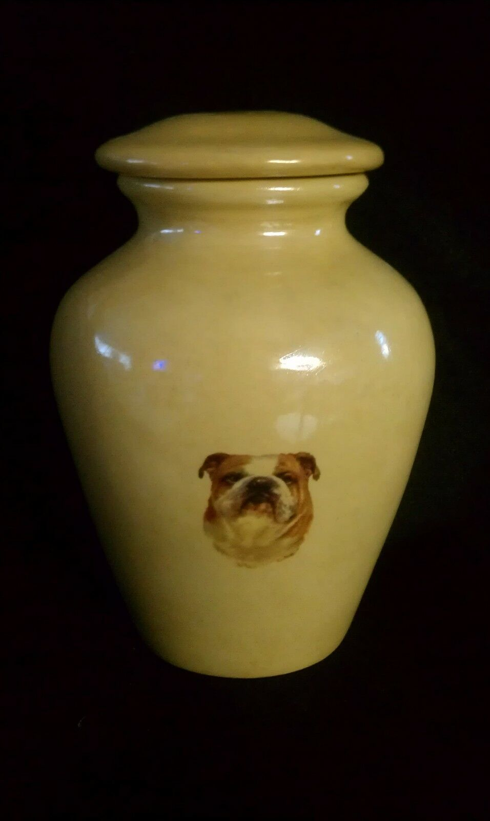 DOG PET URN CREMATION MEMORIAL ASHES..BULL DOG