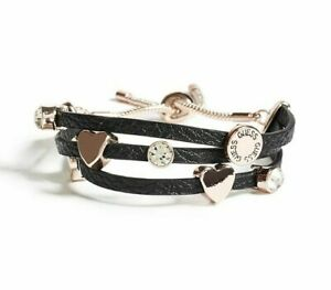 NEW-GUESS-ROSE-GOLD-ACCENT-HEART-BLACK-FAUX-LEATHER-LOGO-SLIDER-CUFF-BRACELET
