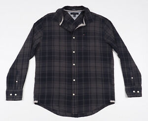 Tommy-Hilfiger-Grey-amp-Blue-checked-Mens-Casual-Shirt-long-sleeved-Size-XL