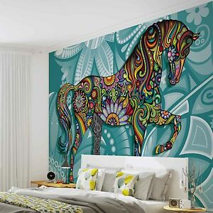 Tapete-Fototapete-Tiere-buntes-Pferd-Horse-Flowers-Abstract-Colours-Photo-Mural