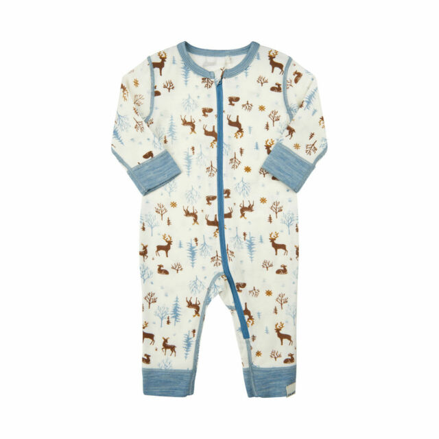 0-6 Months Blue 100/% Merino Wool Baby Gown Baby Boys Gown from Woolino