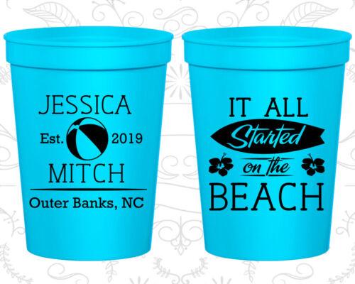 Personalized Plastic Stadium Cups Custom 416 Wedding Giveaways Beach Favors