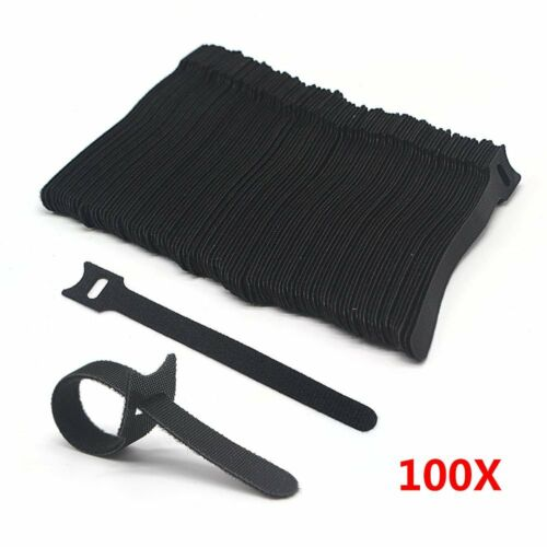 100 pcs Adjustable Reusable Cable Ties Black Velcro Strap Hook Loop Organizer