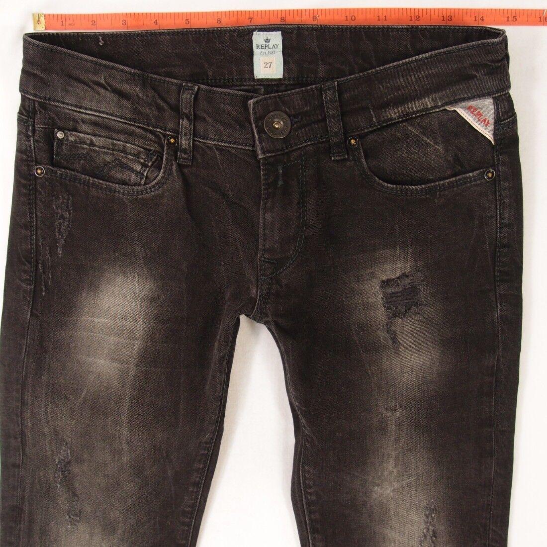 Donna REPLAY WX613 rosa stretch skinny grigio jeans W28 L32 UK Taglia 8